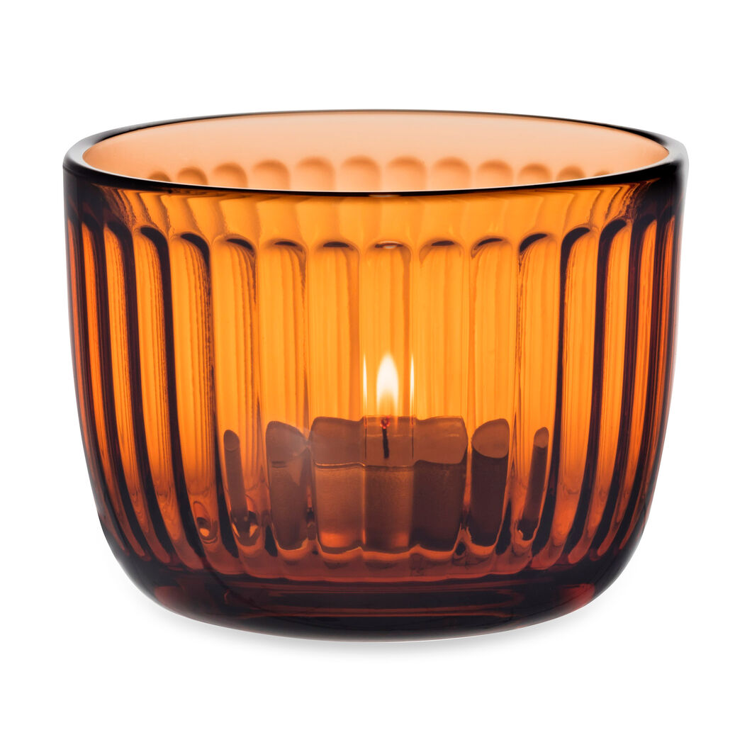 Iittala Raami Glass Tealight Holder in color Orange