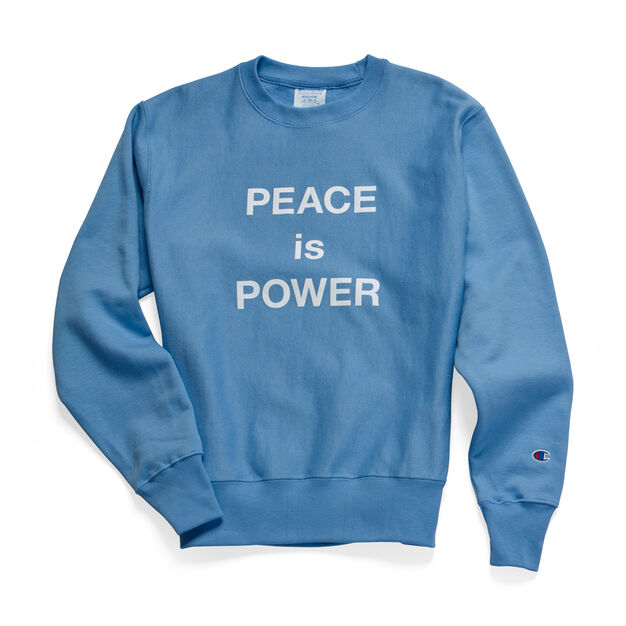 Yoko Ono PEACE is POWER Crewneck Sweatshirt in color Light Blue