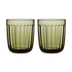 Iittala Raami Glass Tumbler - Set of Two in color Moss Green