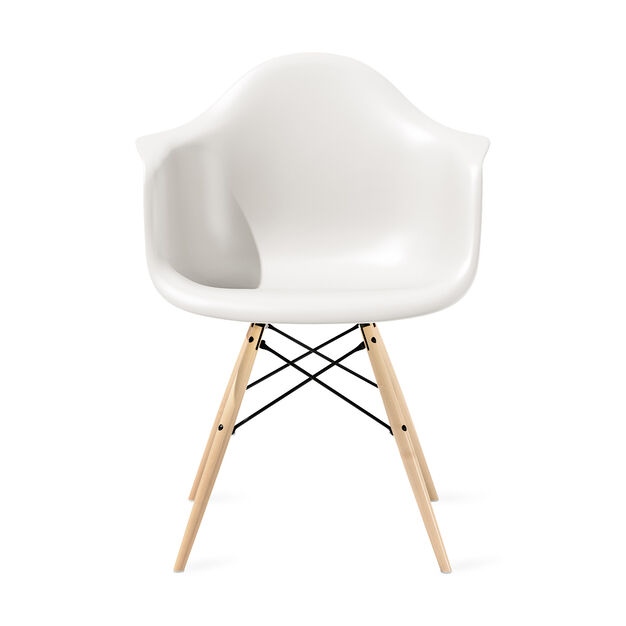 Eames® Molded Plastic Armchair with Dowel-Leg Base (DAW) in color White