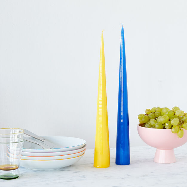 Cone Candles - Set of 2 in color Blue/ Yellow