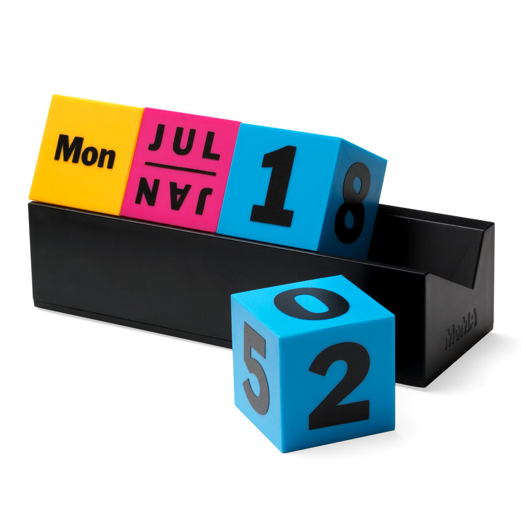 Perpetual Cubes Calendar in color Yellow/ Pink/ Blue