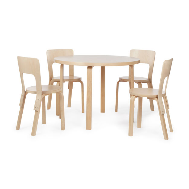 Artek Aalto Round Dining Table 90A in color Birch