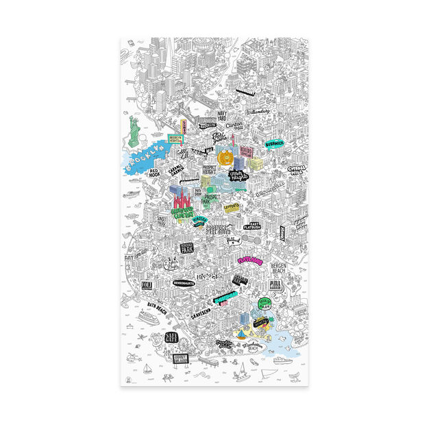NYC Coloring Poster Giant NYC in color BROOKLYN