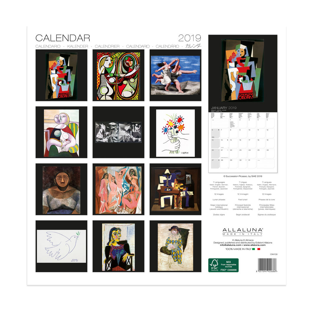 2019 Picasso Wall Calendar in color