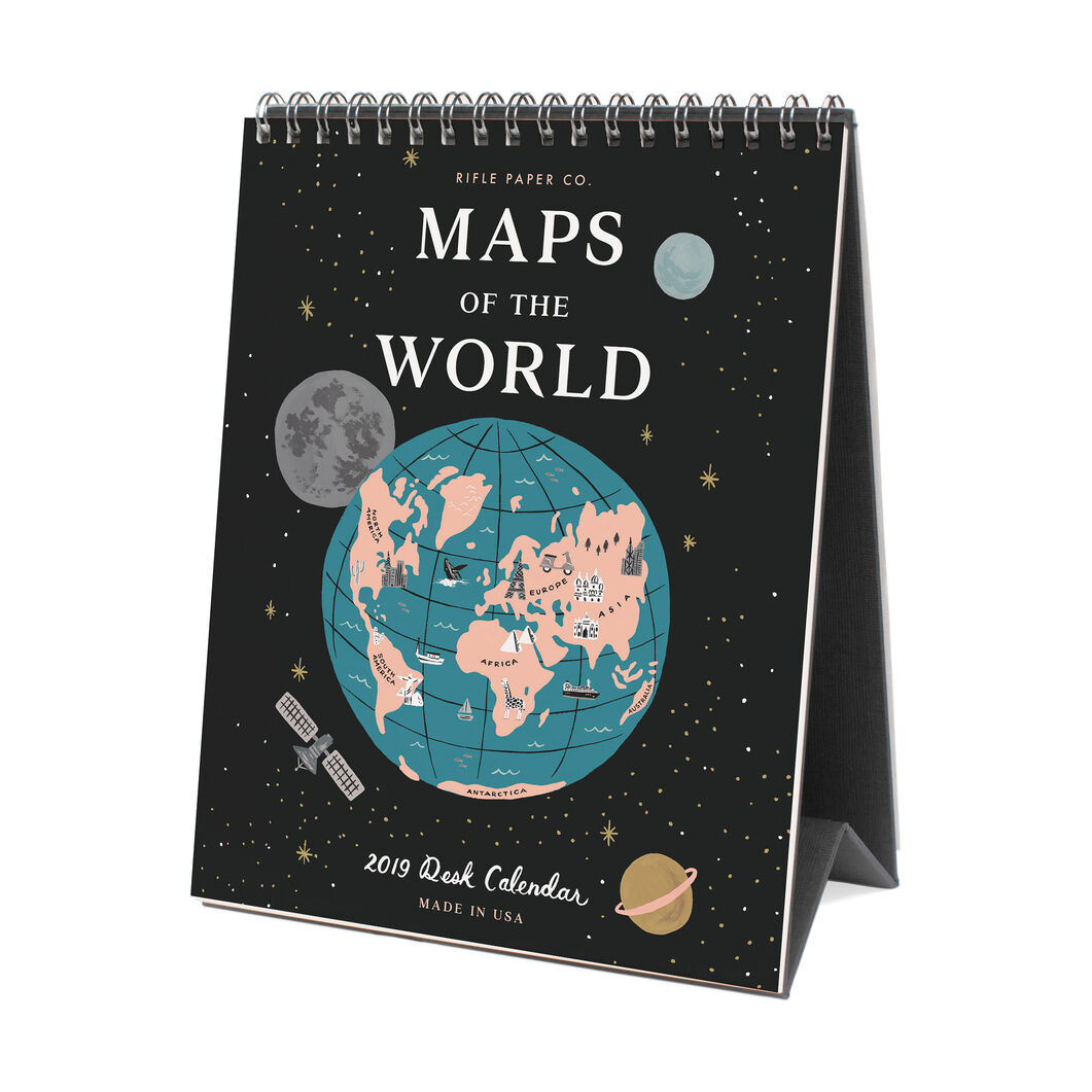2019 Rifle Maps of the World Desk Calendar in color