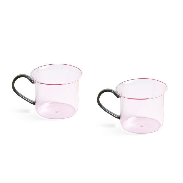 HAY Glass Mugs - Set of 2 in color Light Pink/ Grey