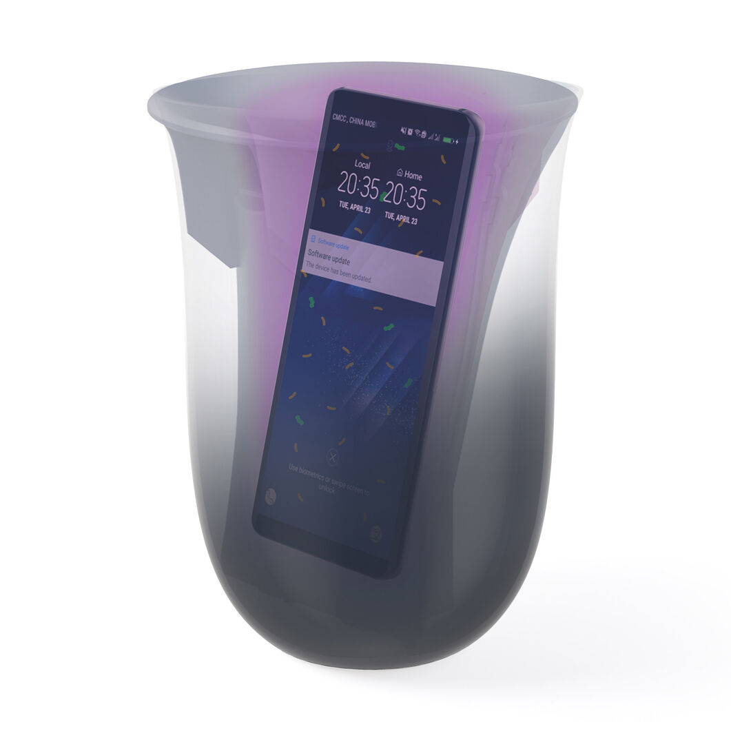 Lexon Oblio Wireless Charging Station & UV Sanitizer in color Dark Blue