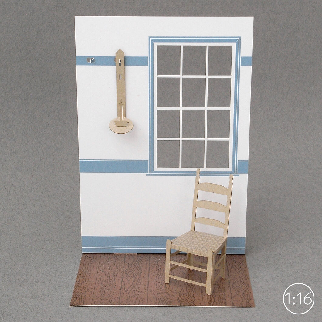 Paper Model Shaker Chair - 1:16 Scale in color