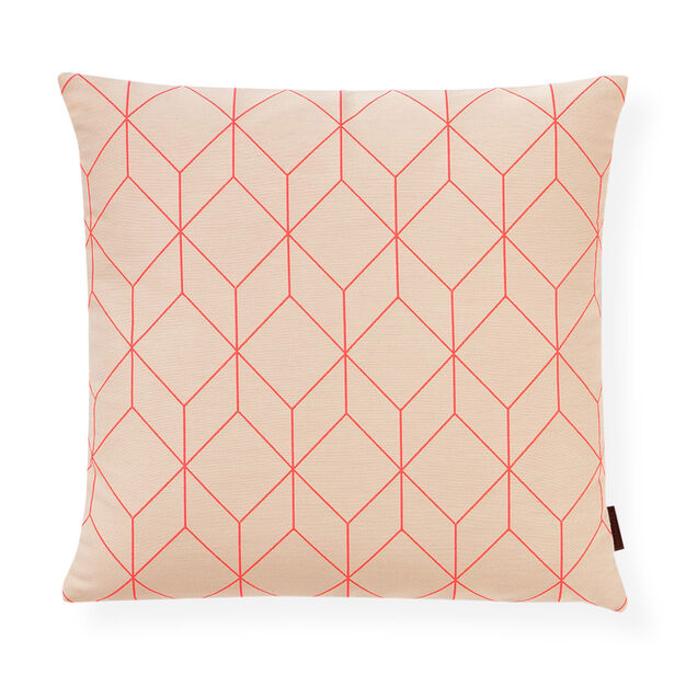 Bright Cube Coral Pillow in color