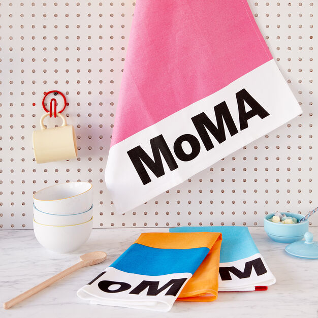 MoMA Cotton Tea Towel in color Yellow/ Pink