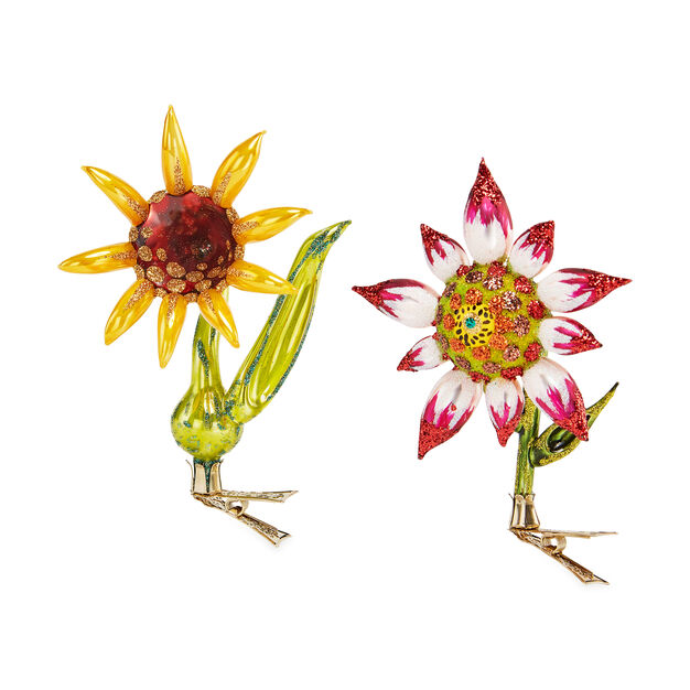 Glittering Sunflower Holiday Ornament Set in color