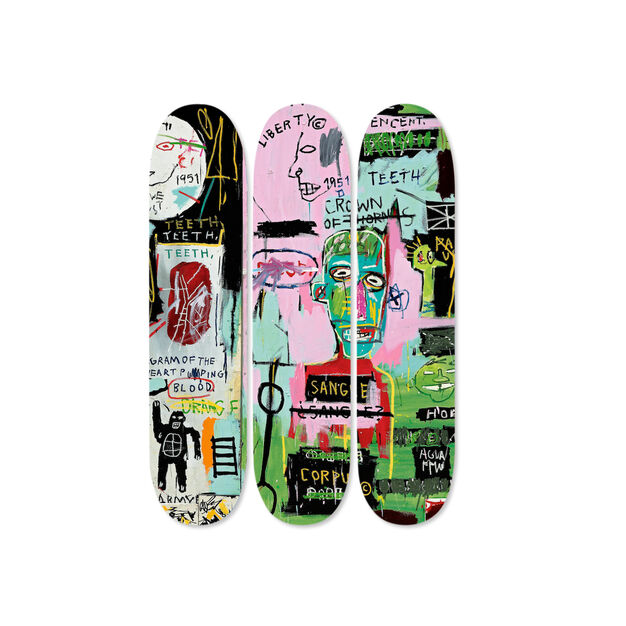Jean-Michel Basquiat:  Skateboard Triptych In Italian in color