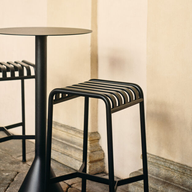 HAY Palissade Outdoor Barstool in color Anthracite