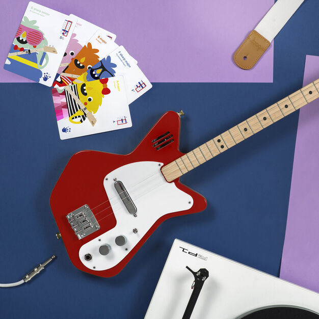 Loog Electric Guitar with Built-In Amp in color Red