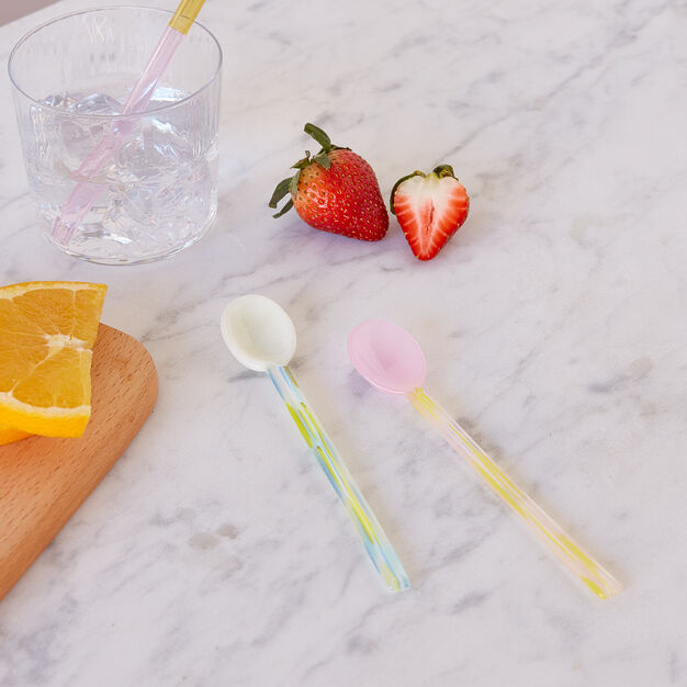 HAY Glass Spoons in color Light Pink/ White