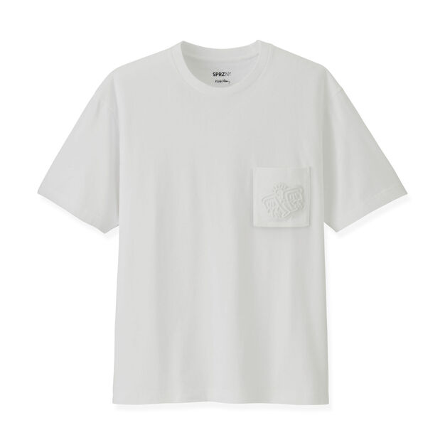 UNIQLO Keith Haring White Embossed T-Shirt in color White