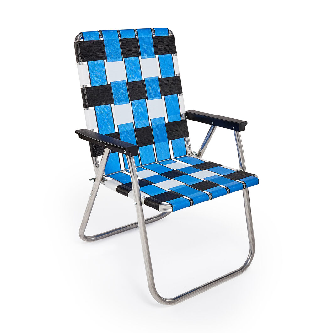 Classic Lawn Chair in color Blue/ Black/ White