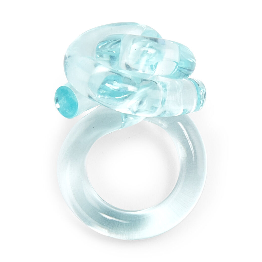 Lucite Knot Ring in color Turquoise