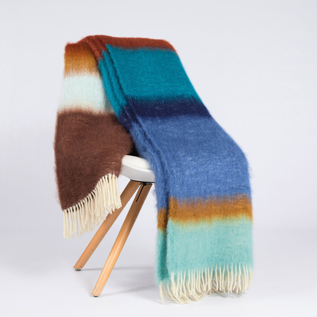 Matisse Mohair & Wool Throw in color Blue/ Brown