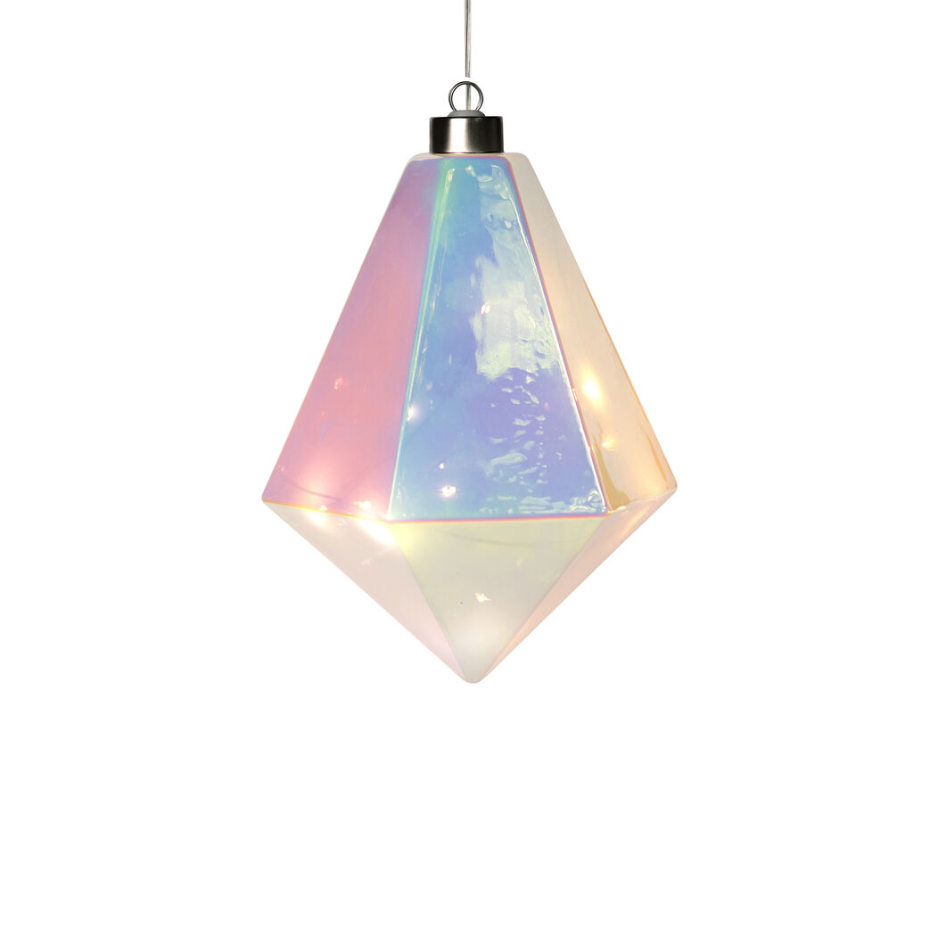 LED Winter Gems Glass Holiday Ornament in color Iridiscent