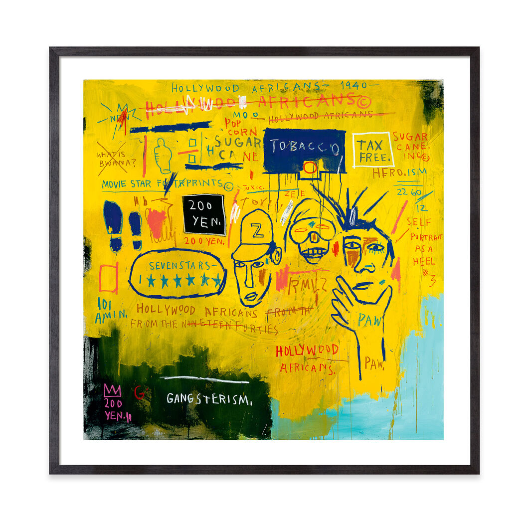 Basquiat: Hollywood Africans Framed Print in color