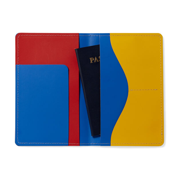 Primary Recycled Leather Passport Case in color Blue/ Red