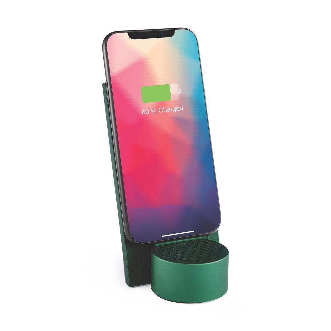 Lexon City Energy Wireless Phone Charger & Speaker in color Green