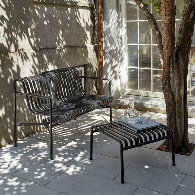 HAY Palissade Outdoor Dining Bench in color Anthracite