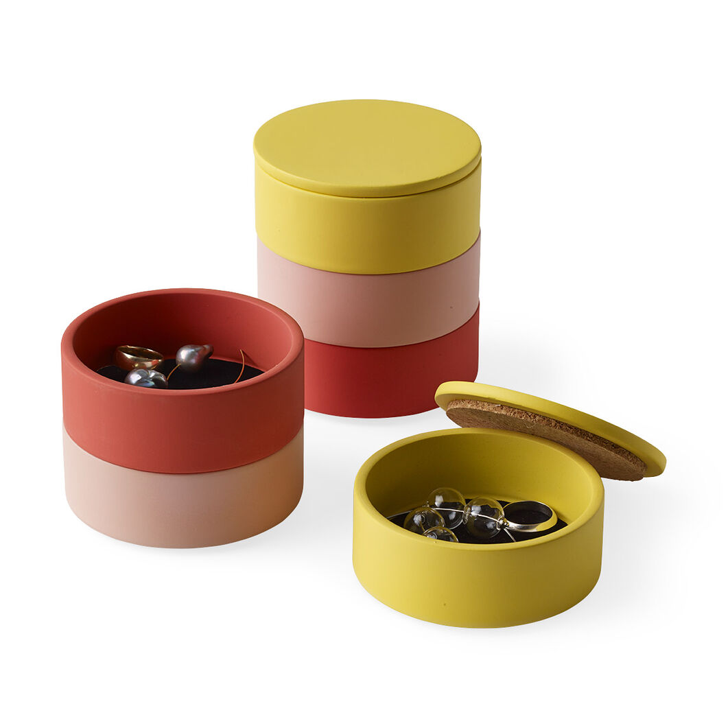 Stacking Jewelry Boxes in color Salmon/ Pink/ Yellow