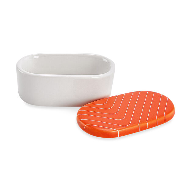 Sushi Sauce Bowls & Chopstick Rests in color Salmon
